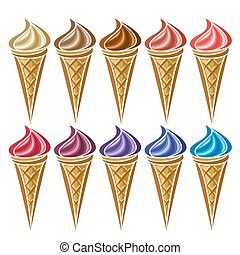 Vector set of Ice Cream in waffle Cone