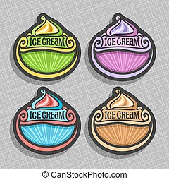 Vector set of Ice Cream Labels