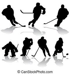ice hockey players - vector set of ice hockey players