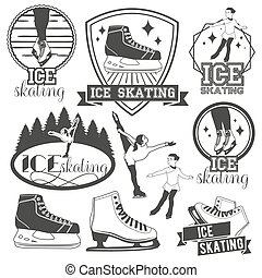 Vector set of ice skating emblems, badges, logos, banners and design elements. Isolated monochrome illustrations in vintage style
