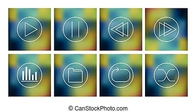 Vector set of icons for music playe