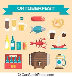 Vector set of icons in a flat cartoon style for Oktoberfest. Food, drink, beer, mug, cancer, dried fish, sausage