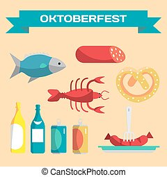 Vector set of icons in a flat cartoon style for Oktoberfest. Food, drink, cancer, dried fish, sausage