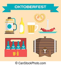 Vector set of icons in a flat style for Oktoberfest. Different types of beer, cups, bottles, glasses, sausages, pretzels