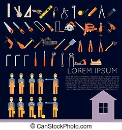 Vector set of icons owith tools for repair