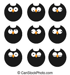Vector set of icons owls