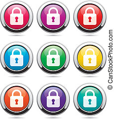 vector set of icons with locks