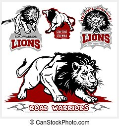 Vector set of illustrated lions themed sport logo, patch, icon, or badge with various style