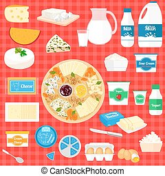 Vector set of illustration with dairy products