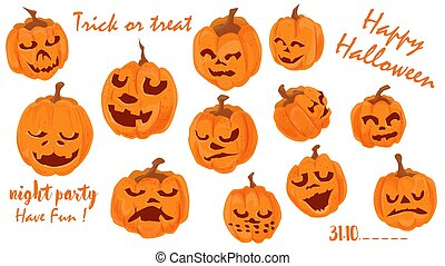 Vector set of illustrations, for decorating the design of all saints eve, Halloween, Pumpkins with emotions, flat style