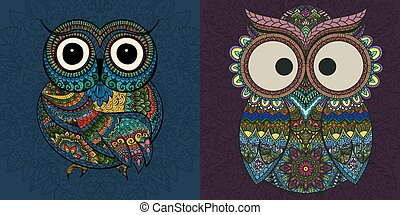 Vector set of  illustrations of ornamental owl. Bird illustrated in tribal.