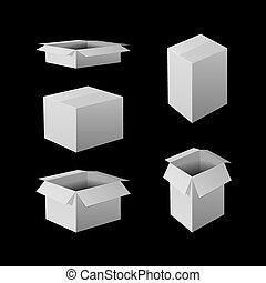 VECTOR Set of Illustrations: White Boxes Icons on Black.