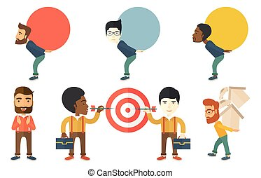 Vector set of illustrations with business people.