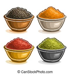 Vector set of Indian spices in bowls