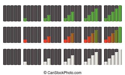 Vector set of indicators. Progression, fullness, steps or phases. Vector Illustration.