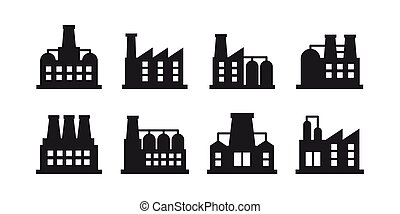 Vector set of industrial building and factory symbol and sign. Factories and power plants icon on white background