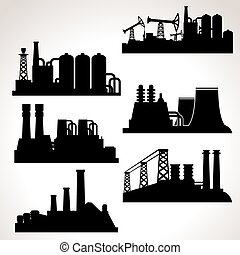 Vector Set of Industrial Buildings