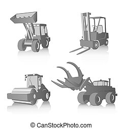 Vector set of four industrial machines, grayscale