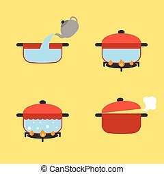 Vector set of info graphic boiling water in pot on fire, flat design