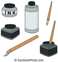 vector set of ink, brush and dip pen