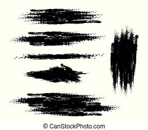 Vector set of ink brush strokes. Design element on isolated white background.
