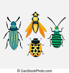 Vector set of insects isolated on white background