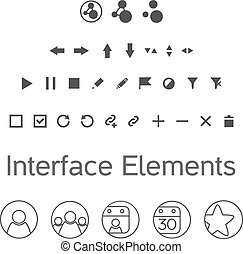Vector set of interface elements, ui kit icons, pictograms...