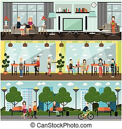 Vector set of internet concept posters, banners