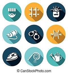 Vector Set of Interrogation Icons. Criminal, Prison, Electric chair, Lie detector, Arrest, Insulation, Appliance, Punishment, Shower.