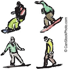 drawn snowboarders