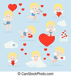 Vector set of isolated cute cupids in flat cartoon style.