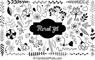 Vector set of isolated doodle flowers.