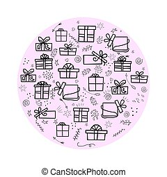 Vector set of isolated elements on a pink a circle background for the holidays with gifts. Use for cards, invitations, background. Vector doodle illustration with gifts on a pink background.