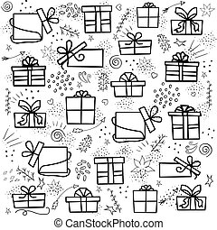 Vector set of isolated elements on a white background for the holidays with gifts. Vector doodle illustration with gifts on a white background.