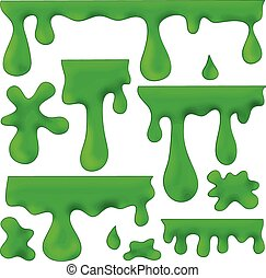 vector set of isolated green blots, splashes and smudges