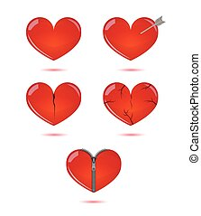 Vector set of isolated hearts on white background.