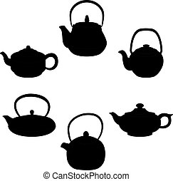 Vector set of isolated icon silhouette teapots