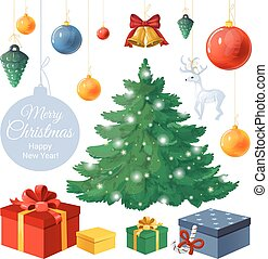 Vector set of isolated objects for Christmas