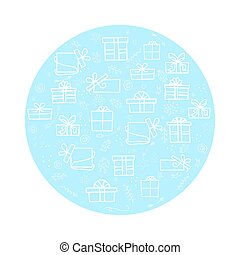 Vector set of isolated white elements on a blue a circle background for the holidays with gifts. Use for cards, invitations, background. Vector doodle illustration with gifts on a blue background.