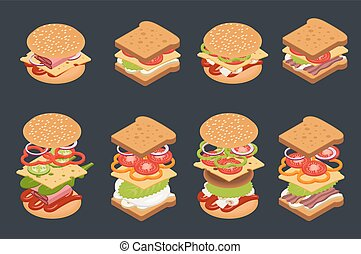 Vector set of isometric burgers and sandwiches.