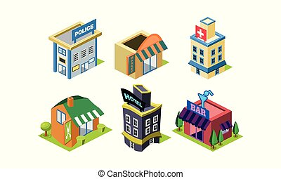 Vector set of isometric city constructor elements. Public buildings. Police department, market, hairdressing salon, hospital and bar