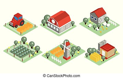 Vector set of isometric farm icons. Wooden barns, tractor, field with harvest, grazing sheep, windmill. Elements for mobile game