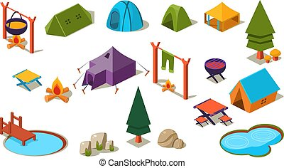 Vector set of isometric icons for camping. Active recreation. Forest element (trees, stones, lakes), various tents, cooking at campfire. Summer vacation