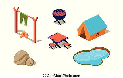 Vector set of isometric icons for camping. Tent, small lake, stones, table and chairs, grill and campfire. Active summer recreation