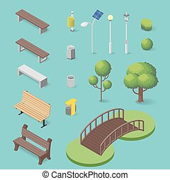 Vector set of isometric park objects: bench, trash box, trees and lamps.