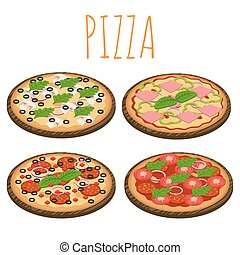 Vector set of isometric pizzas isolated on white background.