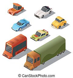 Vector set of isometric urban transportation, cars