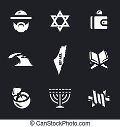 Vector Set of Israel Icons. - Israeli, Judaism, wallet, sea,...