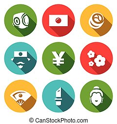 Vector Set of Japan Icons. Sport, National Flag, Traditional...