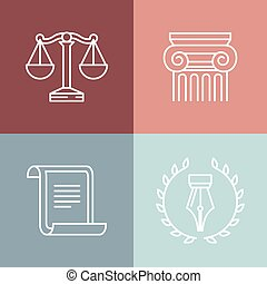 Vector set of juridical and legal logos and signs - line...